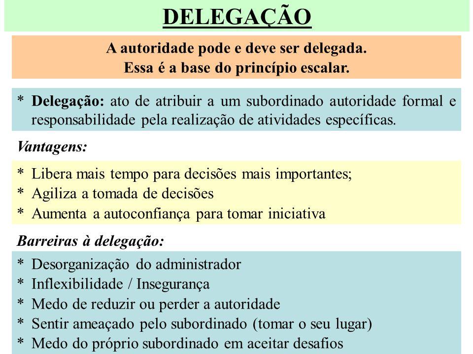 DELEGAÇÃO A autoridade pode e deve ser delegada. Essa é a base do princípio escalar. *Delegação: ato de atribuir a um subordinado autoridade formal e