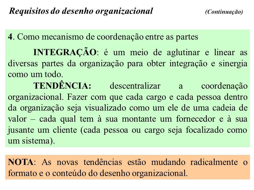 Requisitos do desenho organizacional (Continuação) 4. Como mecanismo de coordenação entre as partes INTEGRAÇÃO: é um meio de aglutinar e linear as div