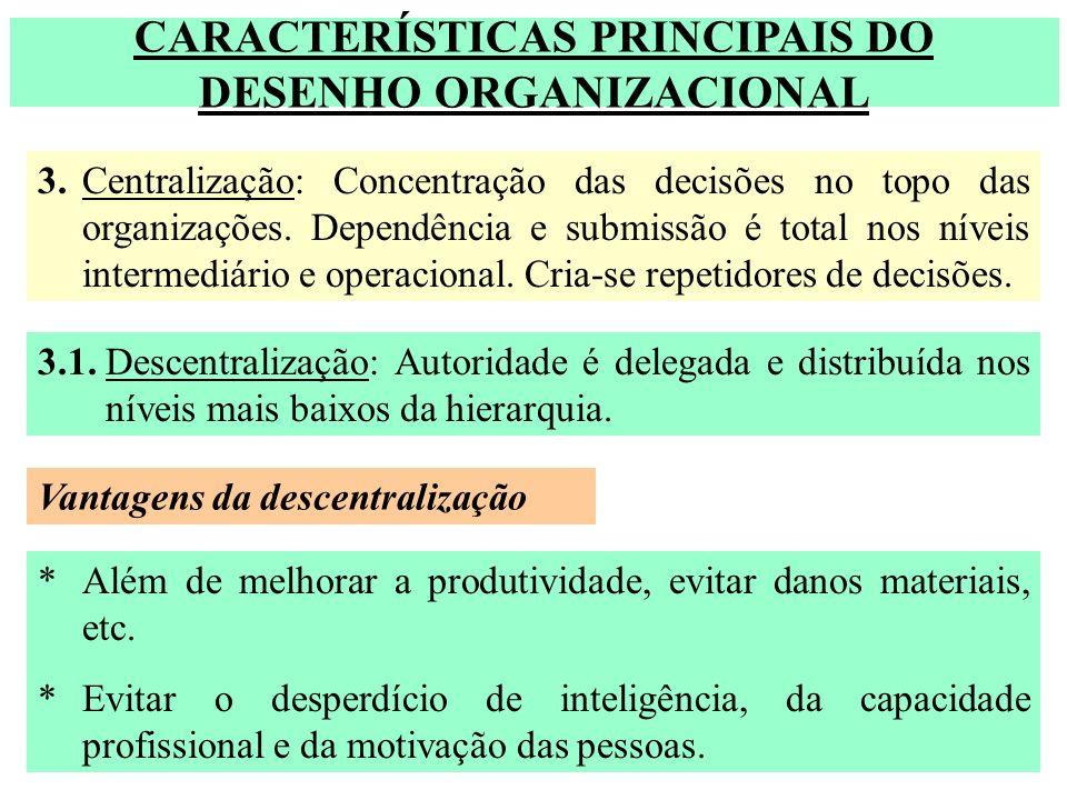 CARACTERÍSTICAS PRINCIPAIS DO DESENHO ORGANIZACIONAL 3.Centralização: Concentração das decisões no topo das organizações. Dependência e submissão é to