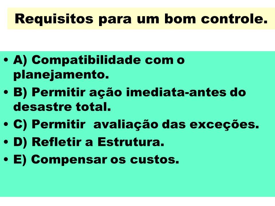 Requisitos para um bom controle. A) Compatibilidade com o planejamento. B) Permitir ação imediata-antes do desastre total. C) Permitir avaliação das e