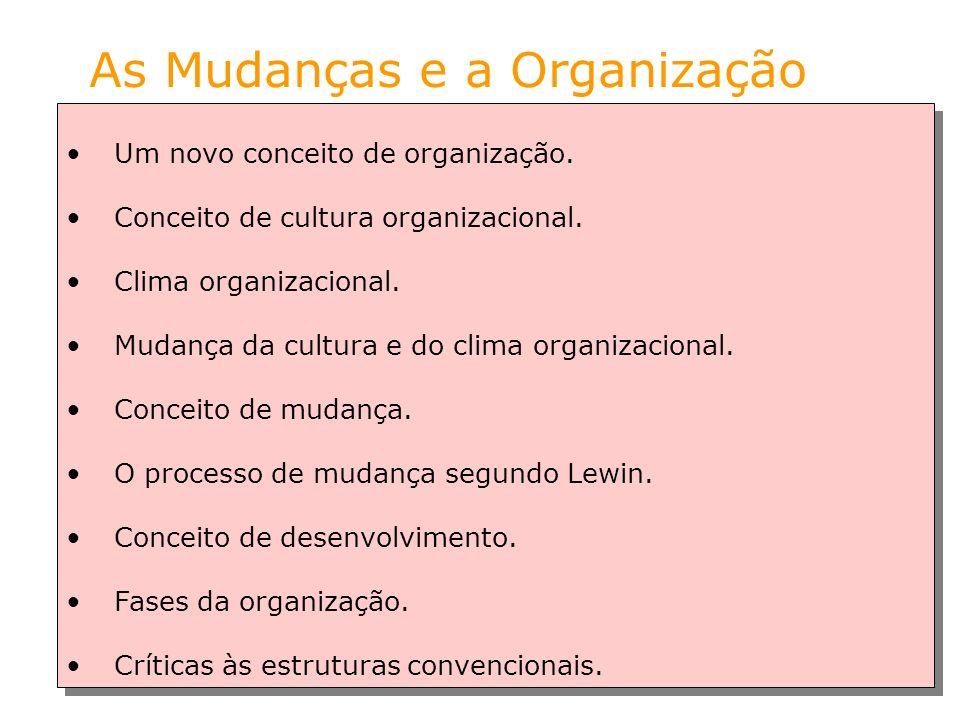 As Mudanças e a Organização Um novo conceito de organização. Conceito de cultura organizacional. Clima organizacional. Mudança da cultura e do clima o