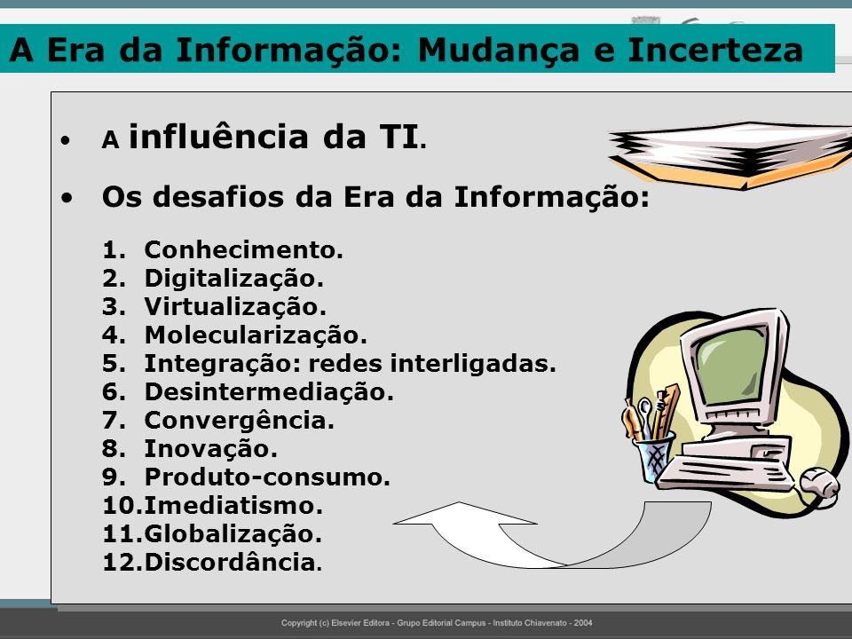 A Era da Informação: Mudança e Incerteza A influência da TI. Os desafios da Era da Informação: 1.Conhecimento. 2.Digitalização. 3.Virtualização. 4.Mol