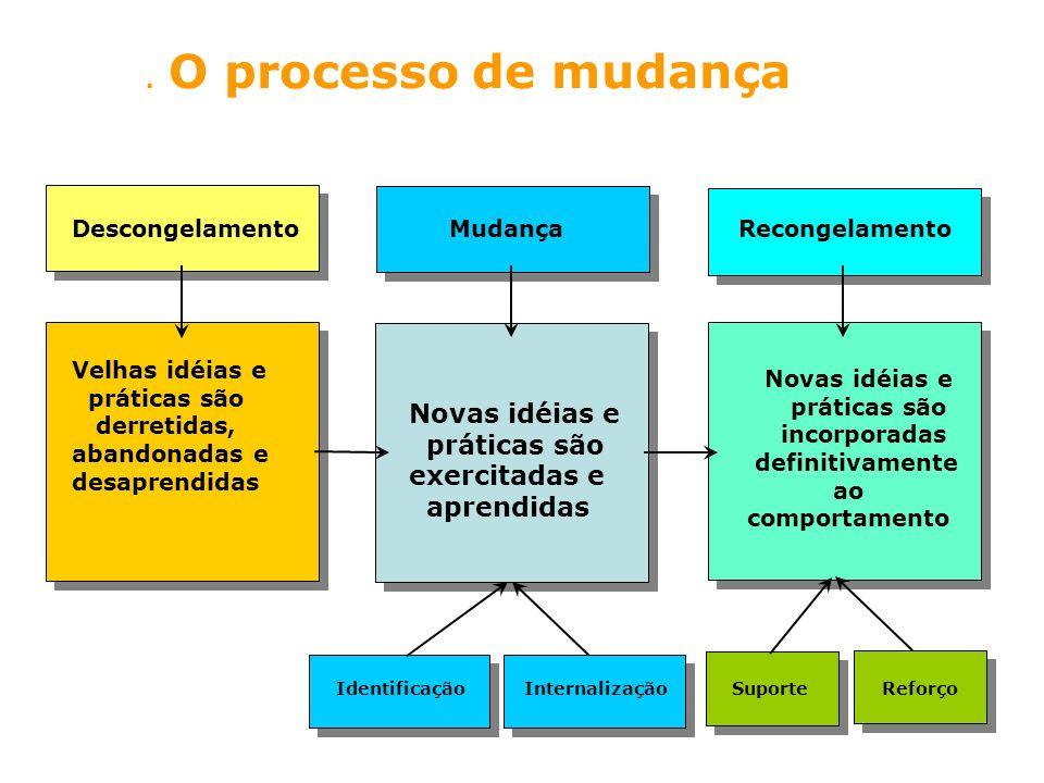 . O processo de mudança Velhas idéias e práticas são derretidas, abandonadas e desaprendidas Novas idéias e práticas são exercitadas e aprendidas Nova