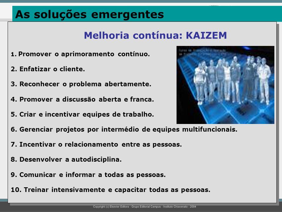As soluções emergentes Melhoria contínua: KAIZEM 1. Promover o aprimoramento contínuo. 2. Enfatizar o cliente. 3. Reconhecer o problema abertamente. 4