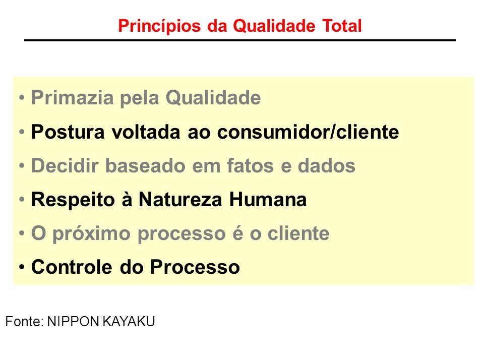 Princípios da Qualidade Total Primazia pela Qualidade Postura voltada ao consumidor/cliente Decidir baseado em fatos e dados Respeito à Natureza Human