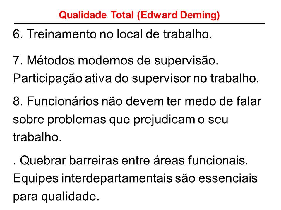 Qualidade Total (Edward Deming) 6. Treinamento no local de trabalho. 7. Métodos modernos de supervisão. Participação ativa do supervisor no trabalho.