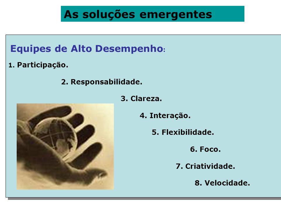 As soluções emergentes Equipes de Alto Desempenho : 1. Participação. 2. Responsabilidade. 3. Clareza. 4. Interação. 5. Flexibilidade. 6. Foco. 7. Cria