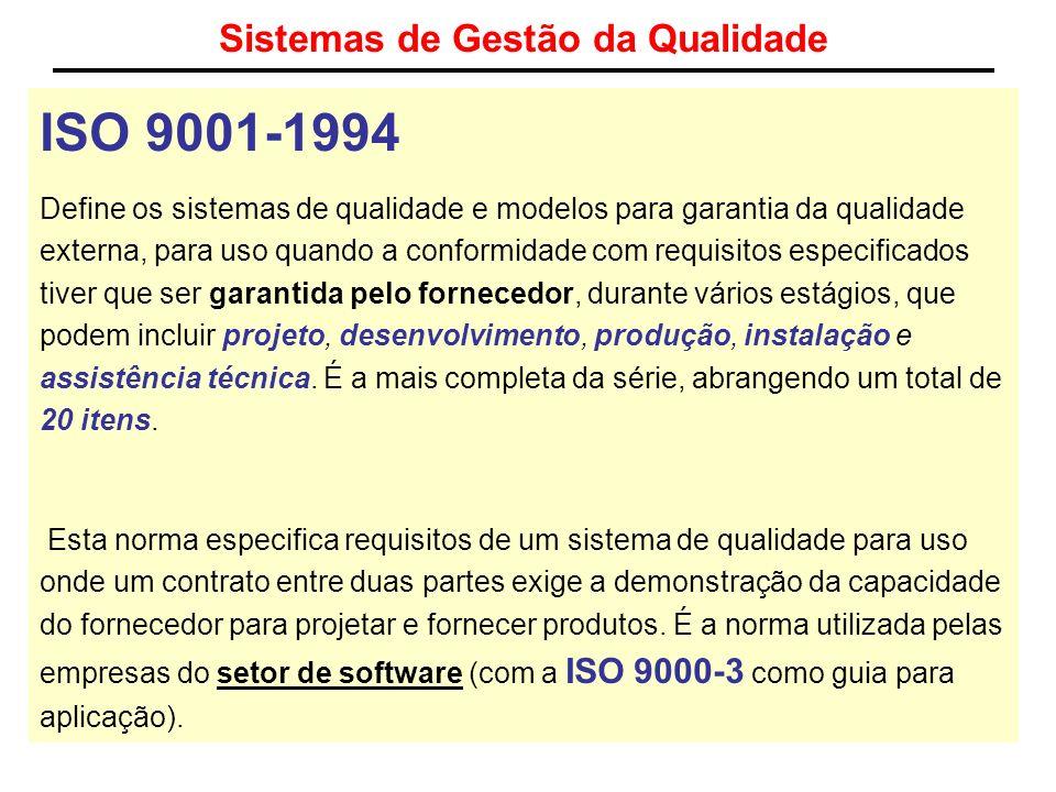 Sistemas de Gestão da Qualidade ISO 9001-1994 Define os sistemas de qualidade e modelos para garantia da qualidade externa, para uso quando a conformi