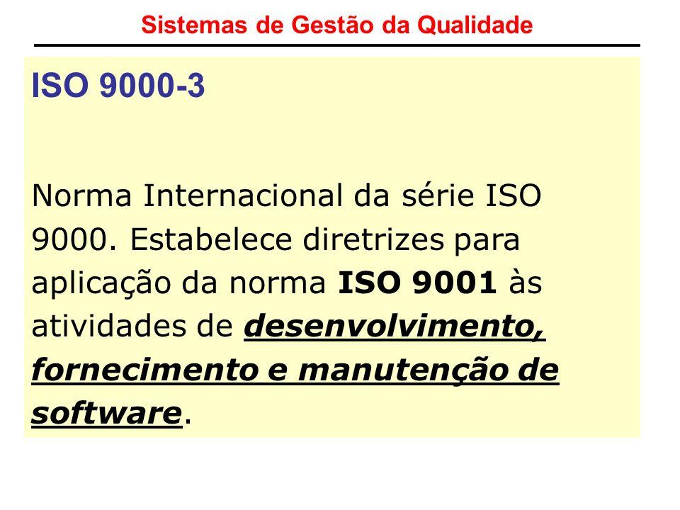 Sistemas de Gestão da Qualidade ISO 9000-3 Norma Internacional da série ISO 9000. Estabelece diretrizes para aplicação da norma ISO 9001 às atividades