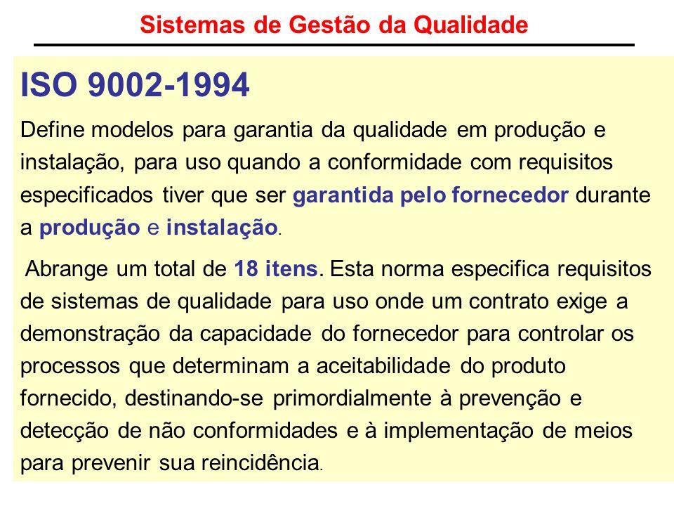 Sistemas de Gestão da Qualidade ISO 9002-1994 Define modelos para garantia da qualidade em produção e instalação, para uso quando a conformidade com r