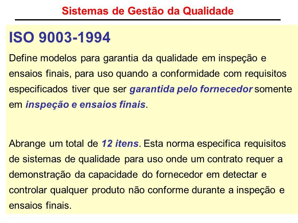 Sistemas de Gestão da Qualidade ISO 9003-1994 Define modelos para garantia da qualidade em inspeção e ensaios finais, para uso quando a conformidade c
