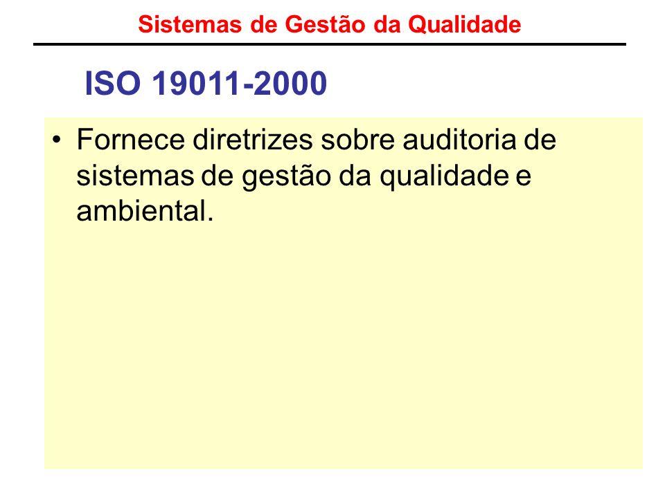 Sistemas de Gestão da Qualidade ISO 19011-2000 Fornece diretrizes sobre auditoria de sistemas de gestão da qualidade e ambiental.
