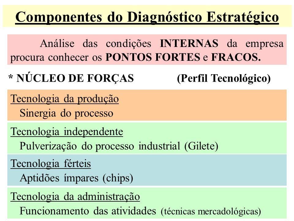 Componentes do Diagnóstico Estratégico Análise das condições INTERNAS da empresa procura conhecer os PONTOS FORTES e FRACOS. * NÚCLEO DE FORÇAS (Perfi