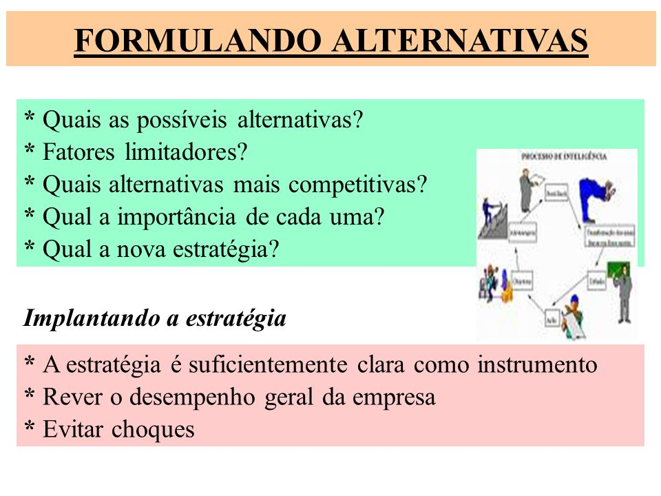 FORMULANDO ALTERNATIVAS * Quais as possíveis alternativas? * Fatores limitadores? * Quais alternativas mais competitivas? * Qual a importância de cada