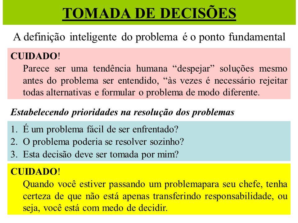 TOMADA DE DECISÕES A definição inteligente do problema é o ponto fundamental CUIDADO! Parece ser uma tendência humana despejar soluções mesmo antes do