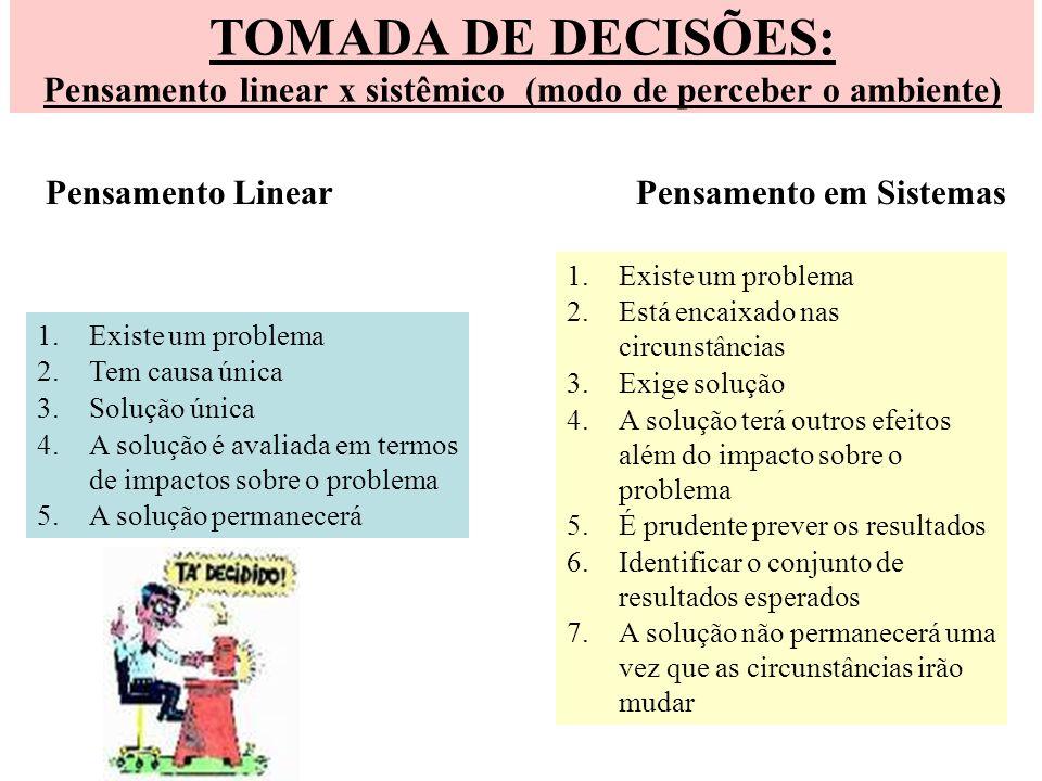 TOMADA DE DECISÕES: Pensamento linear x sistêmico (modo de perceber o ambiente) Pensamento Linear Pensamento em Sistemas 1.Existe um problema 2.Tem ca