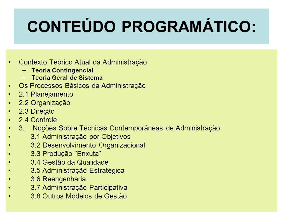 CONTEÚDO PROGRAMÁTICO: Contexto Teórico Atual da Administração –Teoria Contingencial –Teoria Geral de Sistema Os Processos Básicos da Administração 2.
