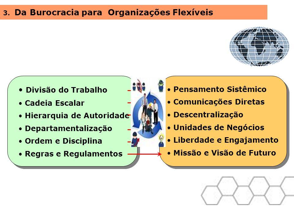Divisão do Trabalho Cadeia Escalar Hierarquia de Autoridade Departamentalização Ordem e Disciplina Regras e Regulamentos 3. Da Burocracia para Organiz