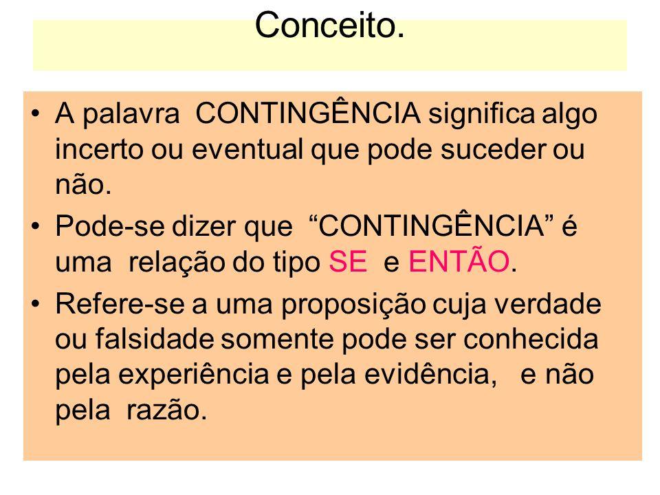 Conceito. A palavra CONTINGÊNCIA significa algo incerto ou eventual que pode suceder ou não. Pode-se dizer que CONTINGÊNCIA é uma relação do tipo SE e