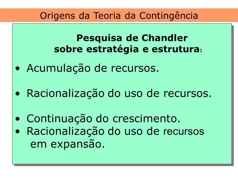 Origens da Teoria da Contingência Pesquisa de Chandler sobre estratégia e estrutura : Acumulação de recursos. Racionalização do uso de recursos. Conti