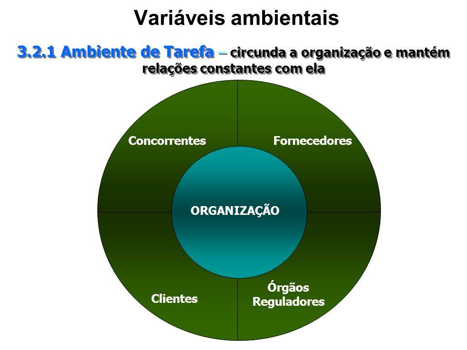 Variáveis ambientais 3.2.1 Ambiente de Tarefa – circunda a organização e mantém relações constantes com ela Concorrentes Clientes Fornecedores Órgãos