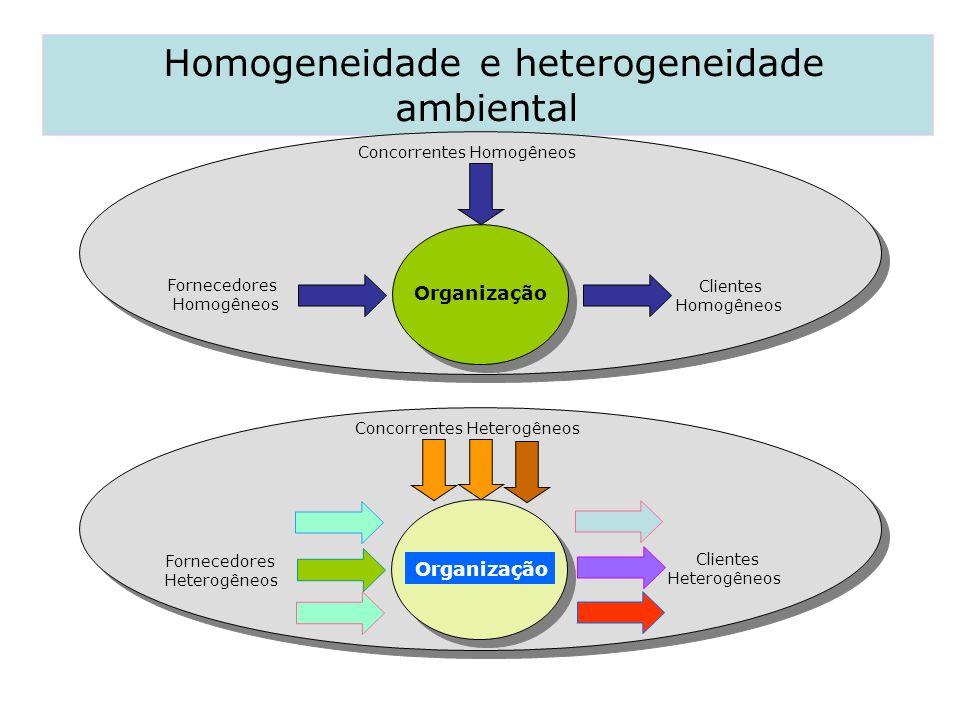 Homogeneidade e heterogeneidade ambiental Concorrentes Homogêneos Fornecedores Homogêneos Clientes Homogêneos Concorrentes Heterogêneos Fornecedores H