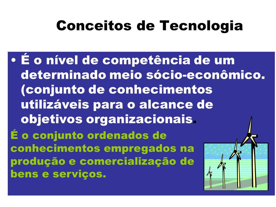 Conceitos de Tecnologia É o nível de competência de um determinado meio sócio-econômico. (conjunto de conhecimentos utilizáveis para o alcance de obje