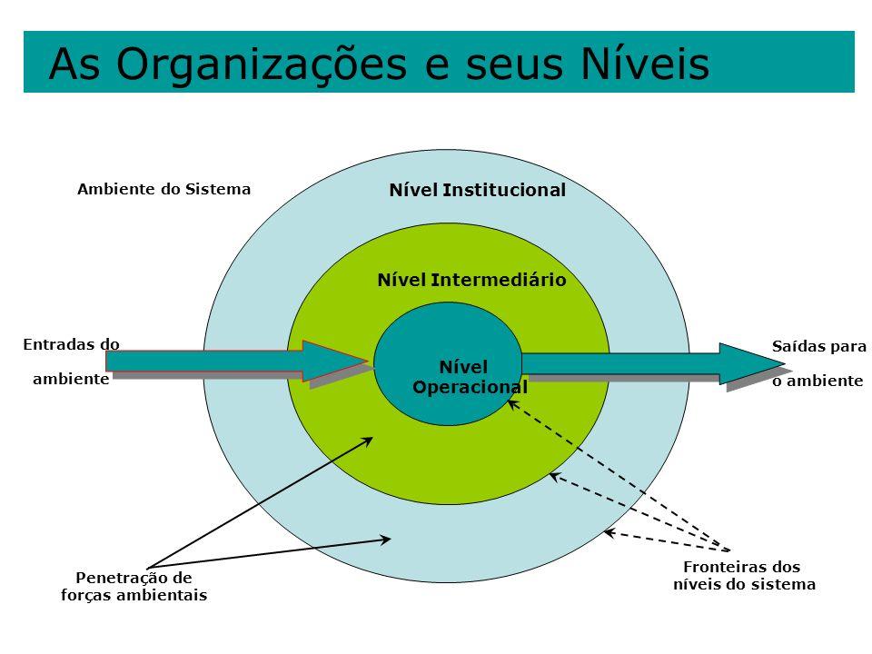 As Organizações e seus Níveis Penetração de forças ambientais Fronteiras dos níveis do sistema Nível Institucional Nível Intermediário Nível Operacion
