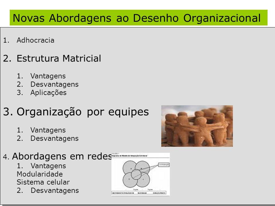 Novas Abordagens ao Desenho Organizacional 1.Adhocracia 2.Estrutura Matricial 1.Vantagens 2.Desvantagens 3.Aplicações 3.Organização por equipes 1.Vant