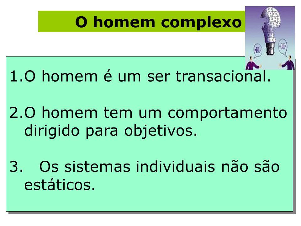 O homem complexo 1.O homem é um ser transacional. 2.O homem tem um comportamento dirigido para objetivos. 3.Os sistemas individuais não são estáticos.