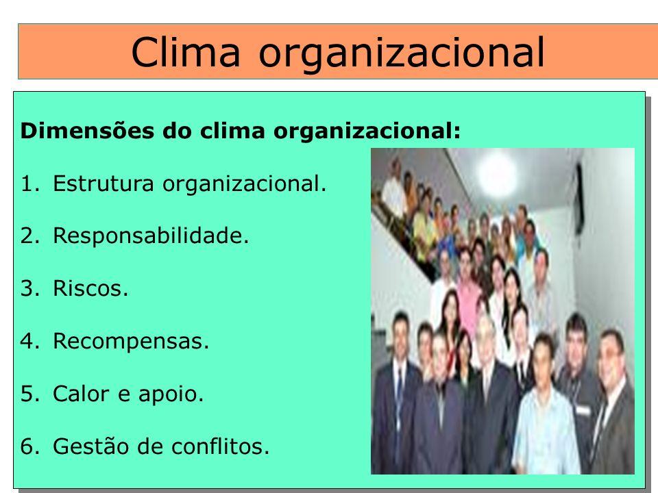 Clima organizacional Dimensões do clima organizacional: 1.Estrutura organizacional. 2.Responsabilidade. 3.Riscos. 4.Recompensas. 5.Calor e apoio. 6.Ge