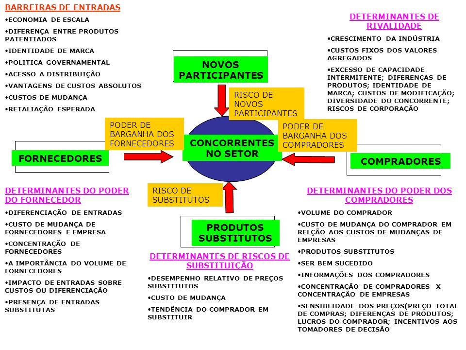 CONCORRENTES NO SETOR NOVOS PARTICIPANTES FORNECEDORES COMPRADORES PRODUTOS SUBSTITUTOS RISCO DE NOVOS PARTICIPANTES PODER DE BARGANHA DOS FORNECEDORE