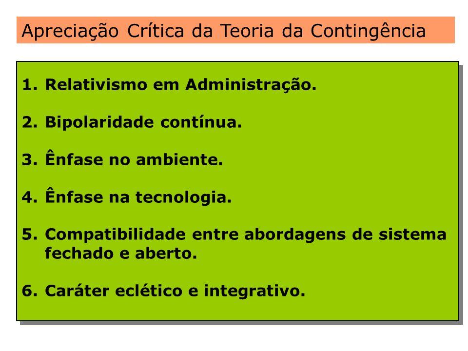 Apreciação Crítica da Teoria da Contingência 1.Relativismo em Administração. 2.Bipolaridade contínua. 3.Ênfase no ambiente. 4.Ênfase na tecnologia. 5.