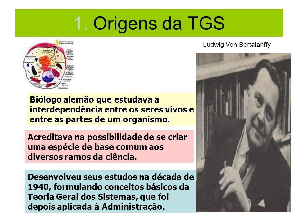 1. Origens da TGS Biólogo alemão que estudava a interdependência entre os seres vivos e entre as partes de um organismo. Acreditava na possibilidade d