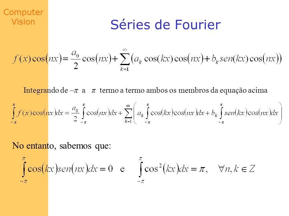 Computer Vision Séries de Fourier No entanto, sabemos que: Integrando de –π a π termo a termo ambos os membros da equação acima