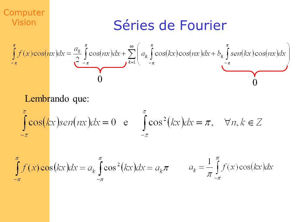 Computer Vision Séries de Fourier Lembrando que: 0 0