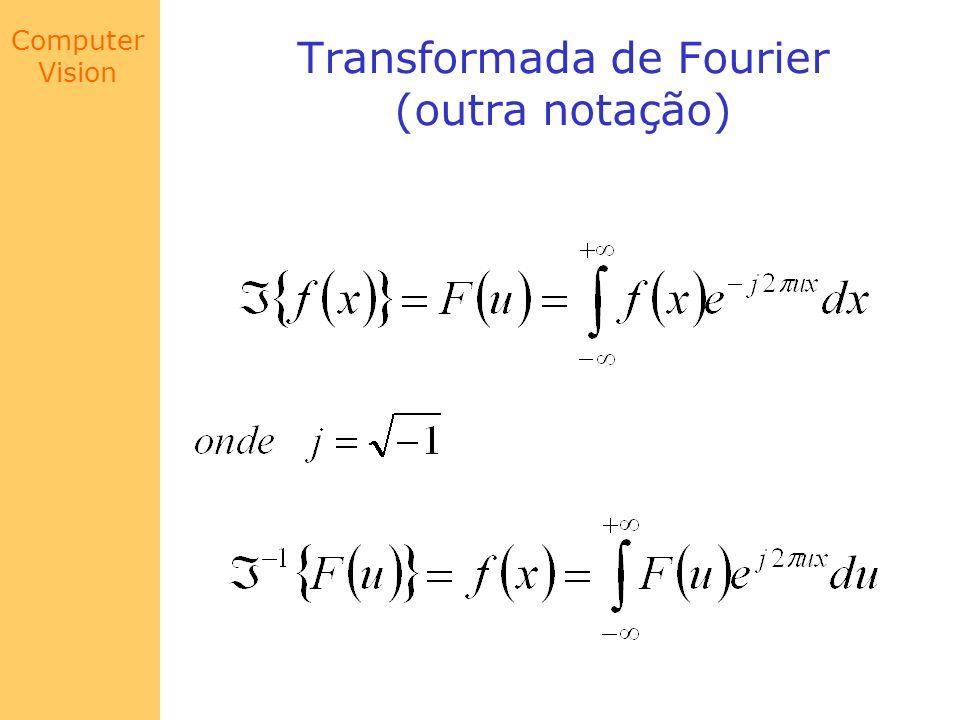Computer Vision Transformada de Fourier (outra notação)