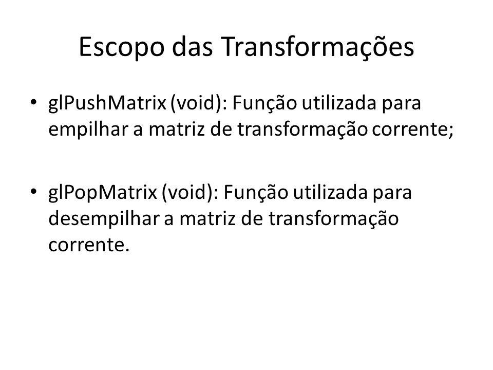 Exercício 1 Fazer um programa em OpenGL usando as funções de Transformações de Escopo.