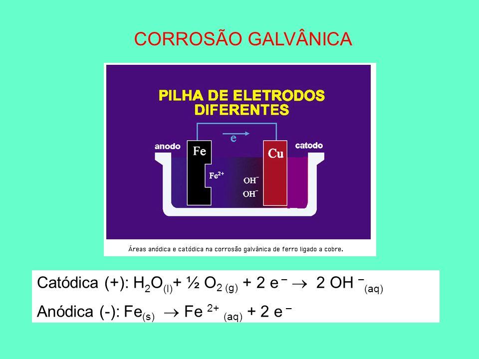 CORROSÃO GALVÂNICA Catódica (+): H 2 O (l) + ½ O 2 (g) + 2 e – 2 OH – (aq) Anódica (-): Fe (s) Fe 2+ (aq) + 2 e –