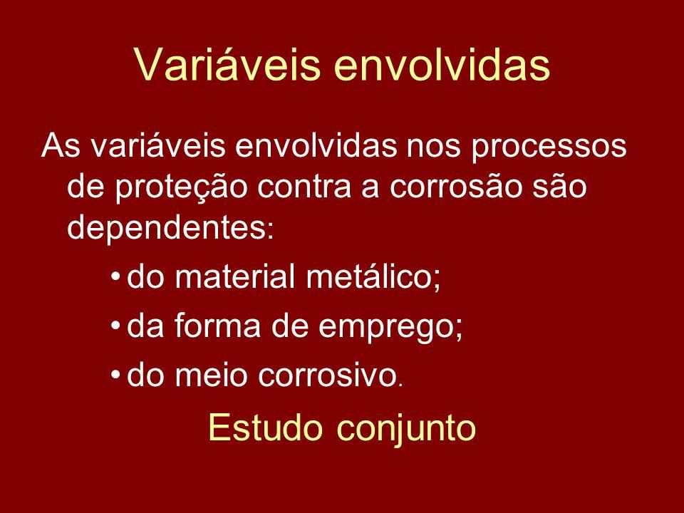 Variáveis envolvidas As variáveis envolvidas nos processos de proteção contra a corrosão são dependentes : do material metálico; da forma de emprego;
