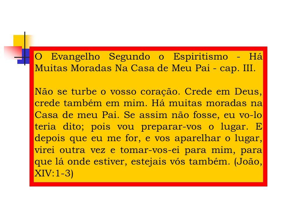 O Evangelho Segundo o Espiritismo - Há Muitas Moradas Na Casa de Meu Pai - cap. III. Não se turbe o vosso coração. Crede em Deus, crede também em mim.