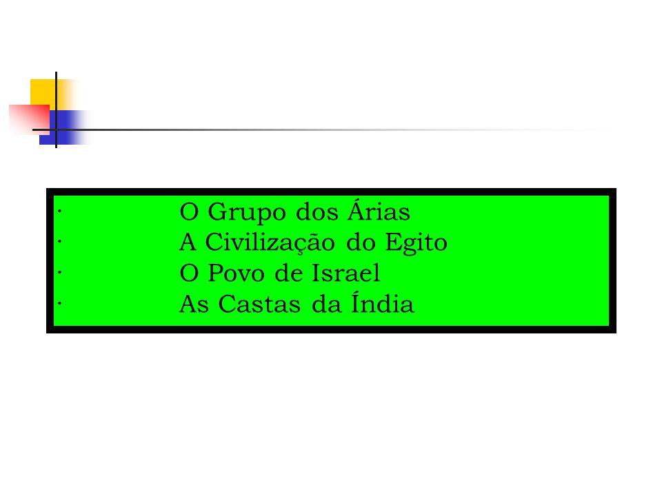 · O Grupo dos Árias · A Civilização do Egito · O Povo de Israel · As Castas da Índia