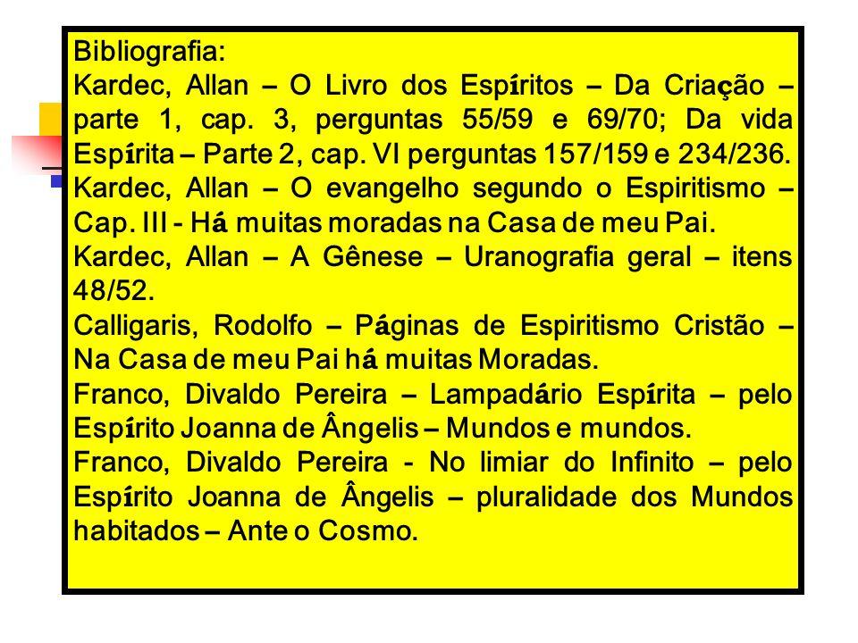 Bibliografia: Kardec, Allan – O Livro dos Esp í ritos – Da Cria ç ão – parte 1, cap. 3, perguntas 55/59 e 69/70; Da vida Esp í rita – Parte 2, cap. VI