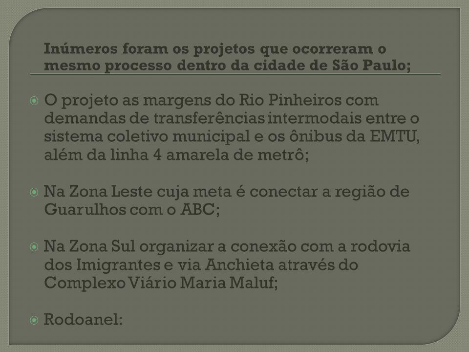 Inúmeros foram os projetos que ocorreram o mesmo processo dentro da cidade de São Paulo; O projeto as margens do Rio Pinheiros com demandas de transfe