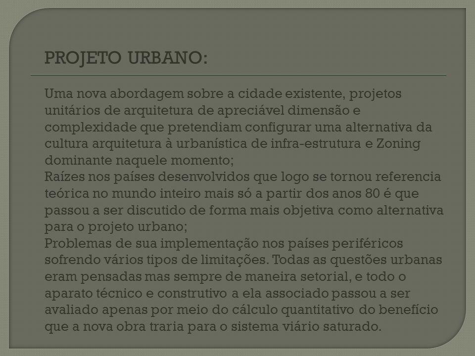 PROJETO URBANO: Uma nova abordagem sobre a cidade existente, projetos unitários de arquitetura de apreciável dimensão e complexidade que pretendiam co