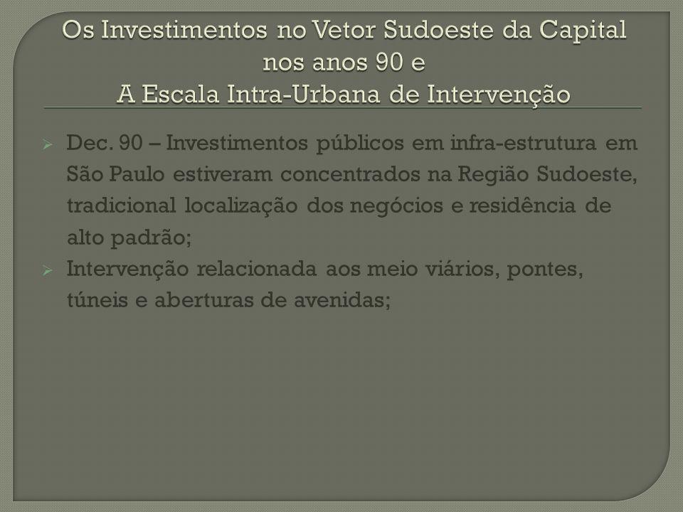 Dec. 90 – Investimentos públicos em infra-estrutura em São Paulo estiveram concentrados na Região Sudoeste, tradicional localização dos negócios e res
