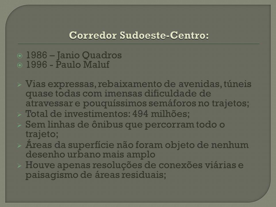 1986 – Janio Quadros 1996 - Paulo Maluf Vias expressas, rebaixamento de avenidas, túneis quase todas com imensas dificuldade de atravessar e pouquíssi