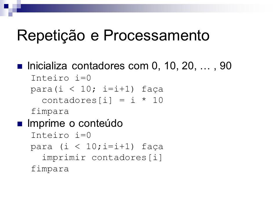 Repetição e Processamento Inicializa contadores com 0, 10, 20, …, 90 Inteiro i=0 para(i < 10; i=i+1) faça contadores[i] = i * 10 fimpara Imprime o con