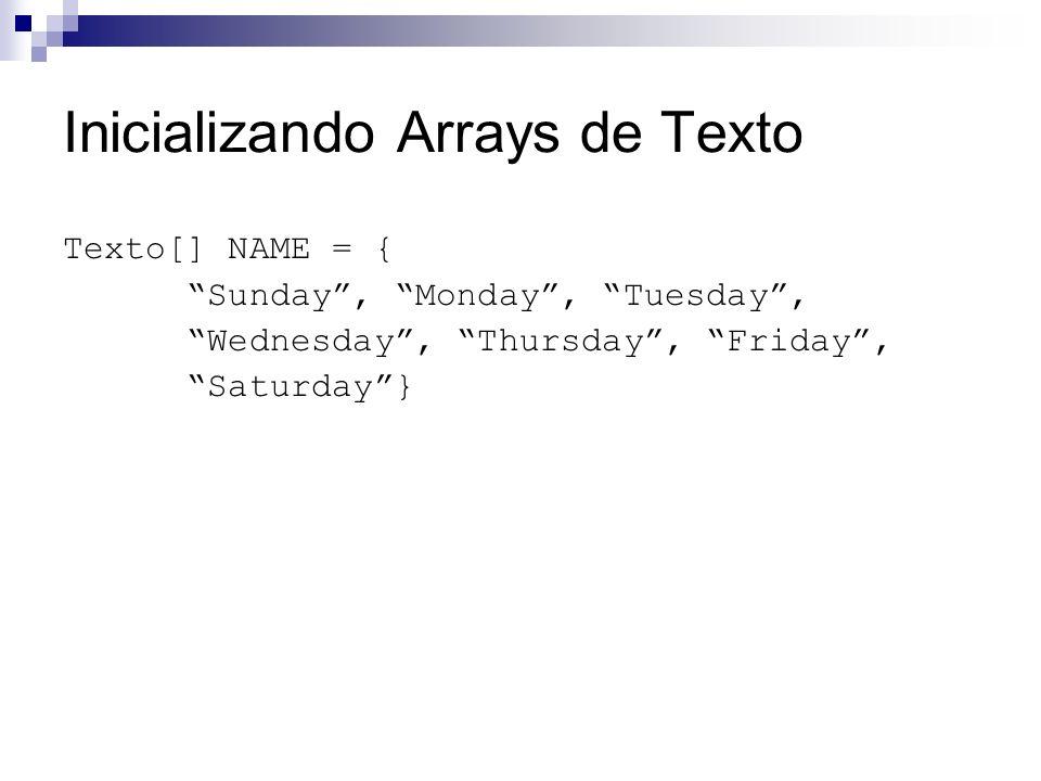 Inicializando Arrays de Texto Texto[] NAME = { Sunday, Monday, Tuesday, Wednesday, Thursday, Friday, Saturday}
