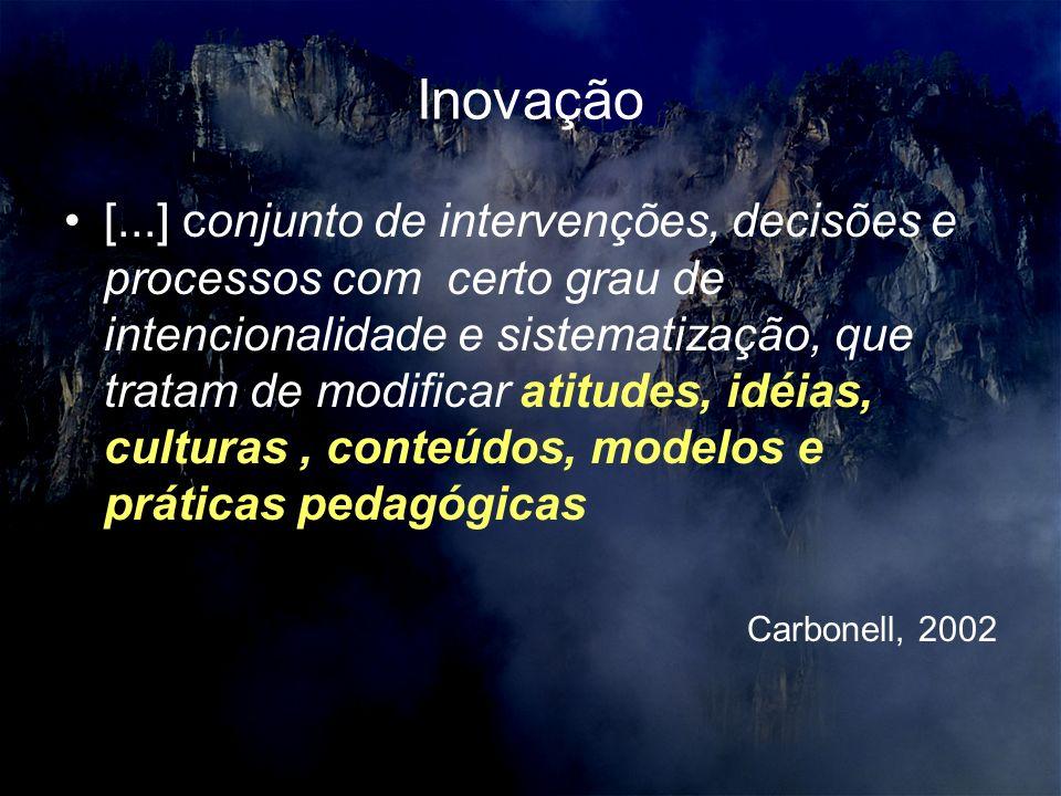 Inovação [...] conjunto de intervenções, decisões e processos com certo grau de intencionalidade e sistematização, que tratam de modificar atitudes, idéias, culturas, conteúdos, modelos e práticas pedagógicas Carbonell, 2002